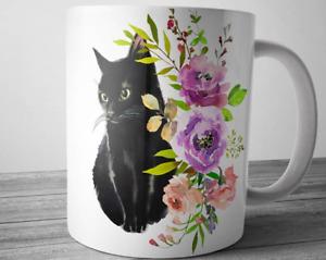 Black Cat Mug, Pet Coffee Mugs, Floral Cat Mug