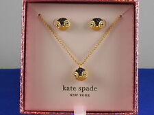 Authentic Kate Spade Dashing Beauty Penguin Pave Pendant Studs Earrings Set