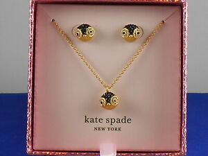 Kate Spate Gold Plated DASHING BEAUTY Penguin Necklace Stud Earrings Boxed Set