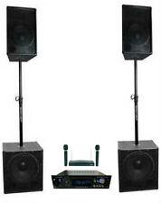 "Complete 4000 Watt Pro Bluetooth DJ System 15"" Speakers 18"" Subs Amp Mics NEW!"
