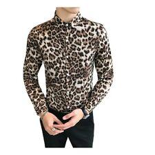 Men's Leopard Long Sleeve Slim Fit V Neck Night Club Regular Shirt Coat Fashion