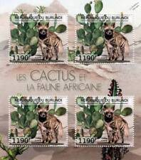 CACTUS & FAUNA of AFRICA / STRIPED HYENA Stamp Sheet #4 of 7 (2012 Burundi)