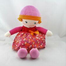 Doudou poupée chiffon rose rouge orange fleurs COROLLE - Poupée - Lutin Classiqu