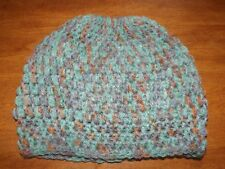 Ponytail Messy Bun Hats Hand Crocheted Stretchy Open Top Beanie Cap Med