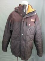 COLUMBIA SIZE M MENS PLUM FULL ZIP INSULATED DOWN HOODED PUFFER JACKET T631