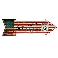 """Outdoor/Indoor Route 66 American Flag Get Your Kicks Metal Arrow Sign 5"""" x 17"""""""