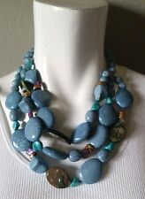 CHICO'S Turquoise Blue Chunky Beaded 3 Strand Necklace