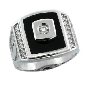 Sterling Silver Men's Black Onyx Ring w/ CZ Stones & Dolphins on Sides