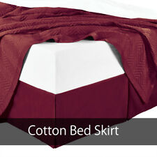 """300Tc Cotton Split Corners Soft Solid Pleated Tailored with 15"""" Drop Bed Skirt"""