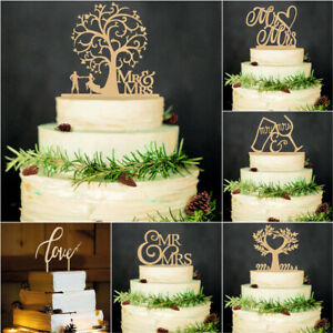 Wooden Wedding Supplies Cake Decorations Wood Cake Topper Bride and Groom