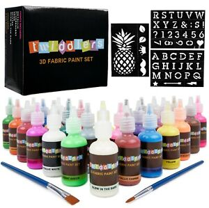 30 x 3D Fabric Paints Permanent T-Shirt Clothes Crafts Assorted Colours Glitter