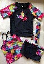 Nwt Sketchers Suft Navy Butterflies 4 Piece Swimwear Set Size 2T Boyshort Tank