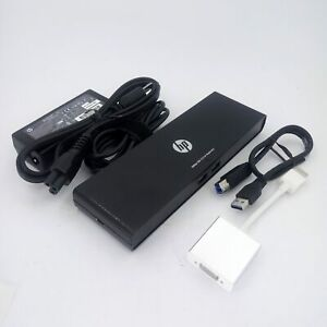 HP 3005pr USB 3.0 Port Replicator w/ USB 3.0 Cable, HDMI to VGA Adapter and A...