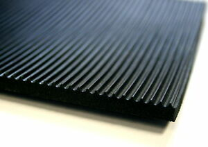 RIBBED RUBBER MATTING FLOORING 1.2M WIDE 6MM THICK ANTI SLIP