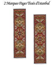 Lot de deux Marques Pages Tissés d'Istanbul avec des motifs de tapis d'Orient