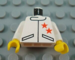 LEGO White Minifigure Torso Body Piece with Red Stars Jacket