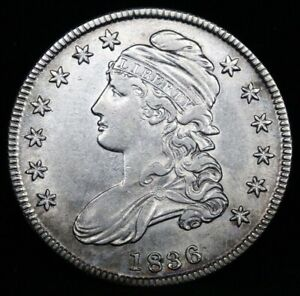 1836 Capped Bust Half Dollar, Uncirculated, Free Shipping