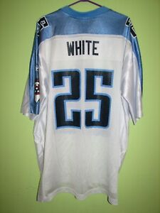 NFL #25 WHITE TENNESSEE TITANS SHIRT REEBOK JERSEY SIZE XL