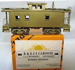 B&O I-5 Caboose, HO Brass by Sunset-Samhongsa. 7-Window Version.