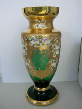 UNIQUE GREEN  LUXURY  BOHEMIAN CZECH GLASS VASE-03