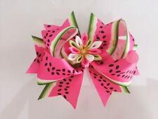 "12 BLESSING Girl 4.5"" Lotus Hair Bow Clip Rainbow Flower Gilt Silver Ribbon"