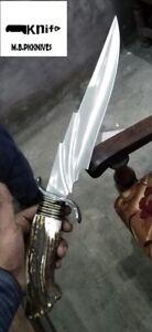 """12""""Handmade D2 Steel Hunting Knife Deer Horn Handle"""