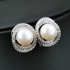 Boucles d`Oreilles Puces Perle de Culture Blanc Argent Sterling 925 CZ Anneau