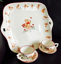 "Vintage (1984) Mason's Ironstone ""Teddy Bears"" Children's Cups, Saucers & Tray"
