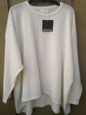 NWT Eskandar White 100% Cashmere Long Sleeve Oversized Knit Sweater Sz 0/S
