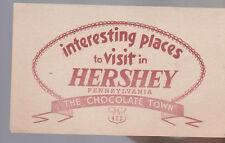 Interesting Places to Visit in Hershey Pennsylvania Brochure Chocolate Town 1952