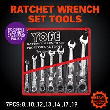7pc  8-19mm Flexible Head Ratchet Gear Spanner Wrench Set Canvas