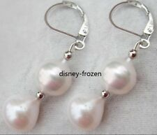 baroque 9X11mm AAA  perfect  natural south sea White pearl earrings 14K White Go