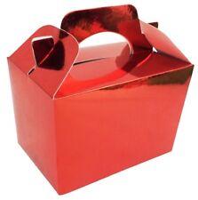 75 Brillante Metálico Rojo Cajas -navidad Reciclable Comida Regalo Fiesta