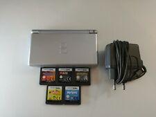 Nintendo DS Lite Silber / Silver + 5 Spiele Sims Lego Star wars mit Ladekabel