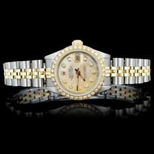 Rolex YG/SS DateJust Ladies 1.00ct Diamond Watch Lot 719