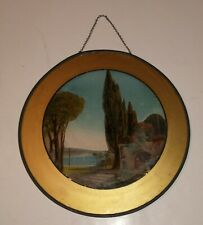 "Antique Vintage Flue Cover Greek Island Scene Women Water Pitcher 10.5"""
