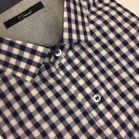 7 DIAMONDS Men's XXL Flip Cuff Cotton Dress Shirt Blue Plaid