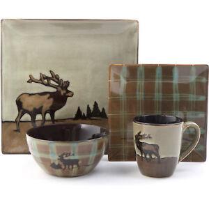 16 Piece Dinnerware Safe Elk Design Set Square Durable Stoneware Brown Microwave