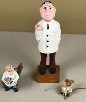 "3 Dentist Figurines: 12"" Wood, Bearded Dentist, Hole in the Wall Mouse Ornament"