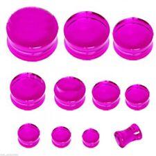 "PAIR-Purple UV Transparent Acrylic Double Flare Ear Plugs 25mm/1"" Gauge Body Jew"