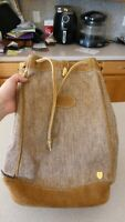 Vintage French Luggage Meeks Canvas & Suede Leather Bag Slingback Backpack Hobo