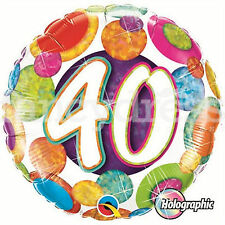 "18"" Happy 40th Birthday Balloons Holographic Spots Party Helium Foil Balloon NEW"