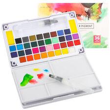 36 Colors Watercolor Paint Portable Watercolor Palette Refillable Water Brushes