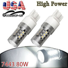 2x 6000K White 7443 High Power 80W Tail Brake Backup Reverse LED Light 7440 US