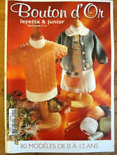 ~BOUTON D' OR KNITTING BOOK No. 12 - 80 CREATIONS for BABY/CHILD- ENGLISH - VGC~