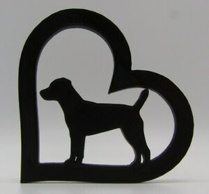Patterdale Terrier Dog In Heart Home Ornament 10x10x1cm - Various Colours
