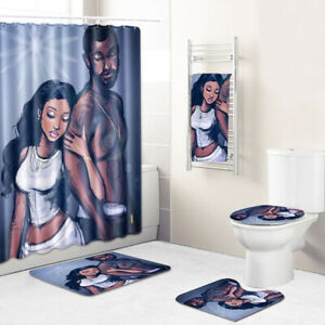African Lover Bathroom Rugs Shower Curtain Bath Towel Bath Mat Toilet Lid Cover