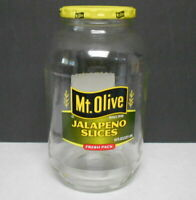 64 oz. Mt. Olive Jalapeno 1/2 Gallon Clear Glass Jar Great for Bank & Pickling