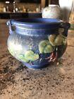 "lovely Percect 3.5"" Roseville Blue Fuchsia Vase With Handles"