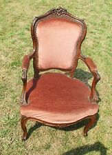 Antique Arm Chair Fauteuil Louis XVI style Carved Wood Hobnails Stunning